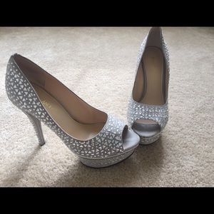Silver, Jeweled High Heels, Size 7 1/2